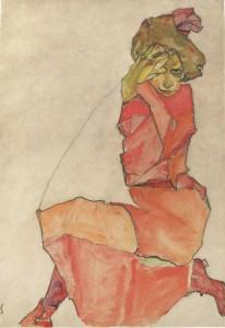 Donna inginocchiata con abito rosso-arancione, 1910